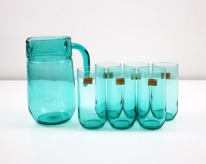 1980s French jug and glasses drinking set - 7 piece turquoise aqua by Luminarc