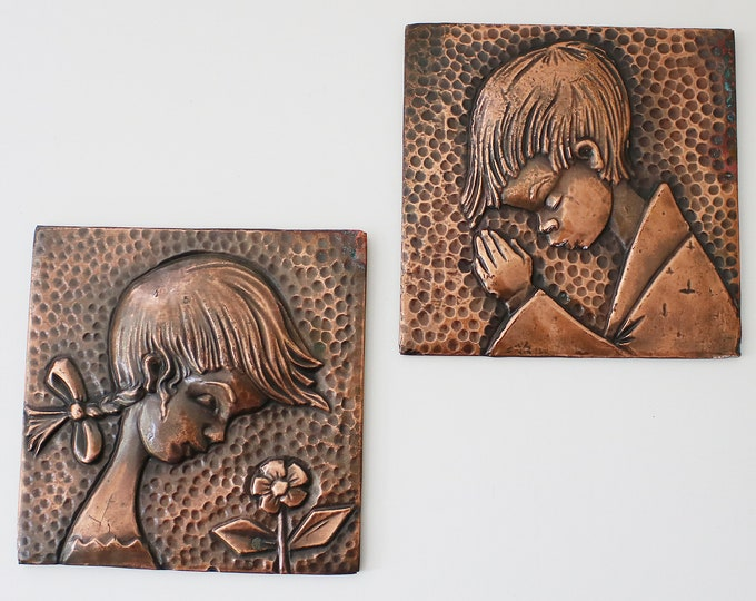 Pair of mid century copper wall plaques - stylised girl and boy - Brazilian Brazil Brasil - 1960s