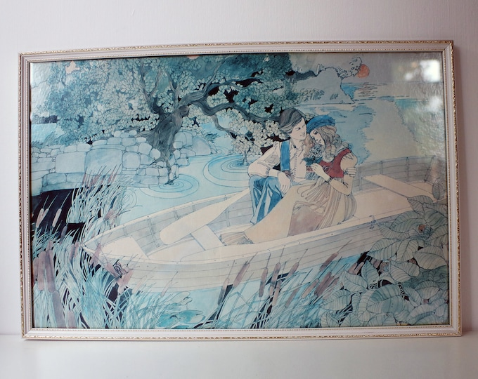 1970s Framed print by David McCall Johnston - signed in the print.  Advertisement 1970 1971