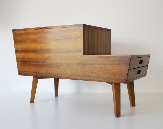 Mid century sewing box / storage side table in walnut by Peter Hayward for Vanson