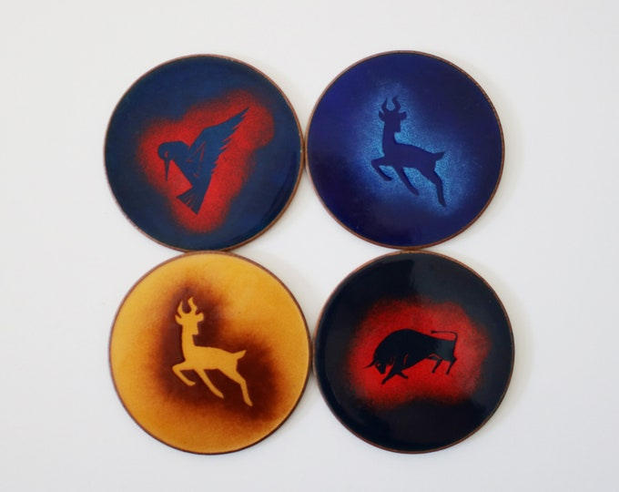 Individual mid century copper enamelled coaster with stencilled animal - 4 available - price for one