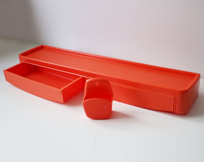 1970s orange plastic shelf / drawer unit and wall mounted soap dish by Syla of France