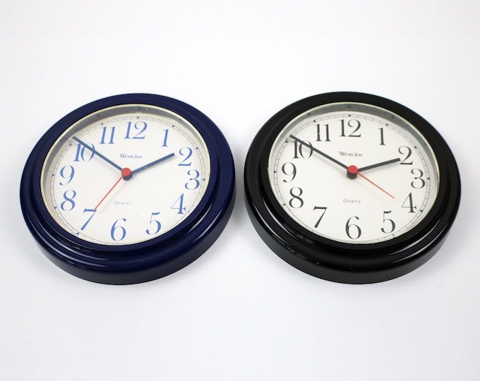 1980s 90s quartz wall clock by Westclox - black or navy blue with red second hand
