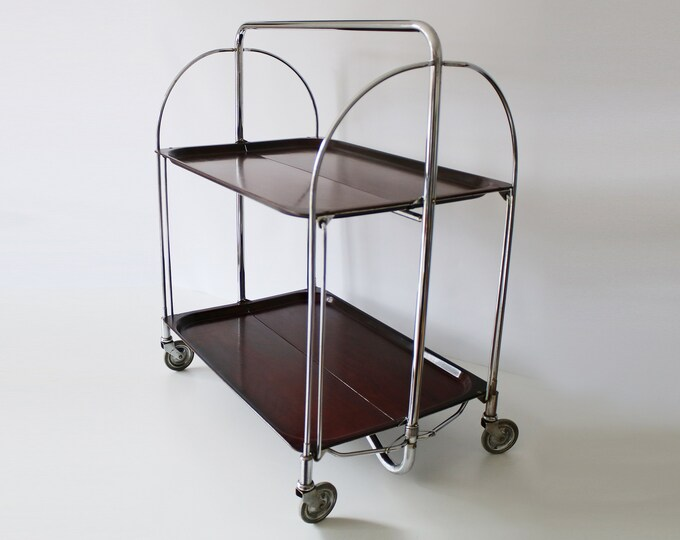 German bakelite and chrome Dinett folding tea trolley / bar cart - Bremshey & Co. Gerlinol Bar Cart - rosewood effect