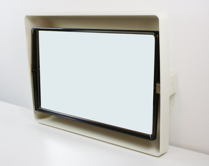 1970s Allibert space age tilting / swivel backlit mirror - rare rectangular. White plastic, smoked plastic and gold detail - working