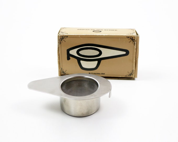 1960s 70s boxed stainless steel tea strainer with drip bowl - modernist - Boots
