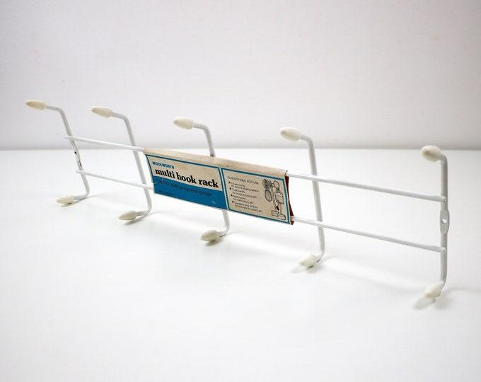 1970s atomic white wire coat towel hook / multi hook rack by Woolworths unused