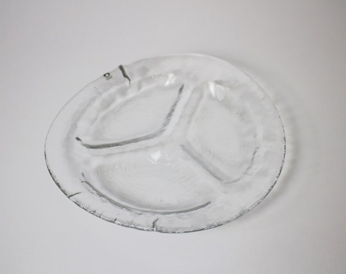 1970s Swedish ice glass 3 section nibbles dish / serving plate by Pukeberg