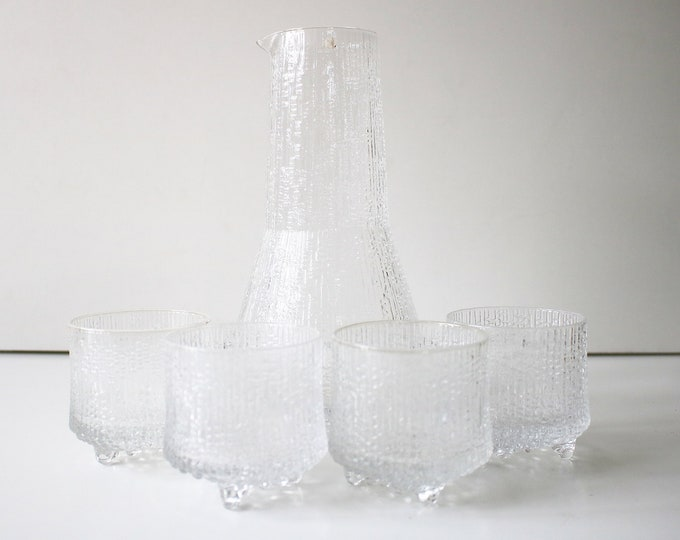 Ultima Thule carafe and glasses by Tapio Wirkkala for Iittala