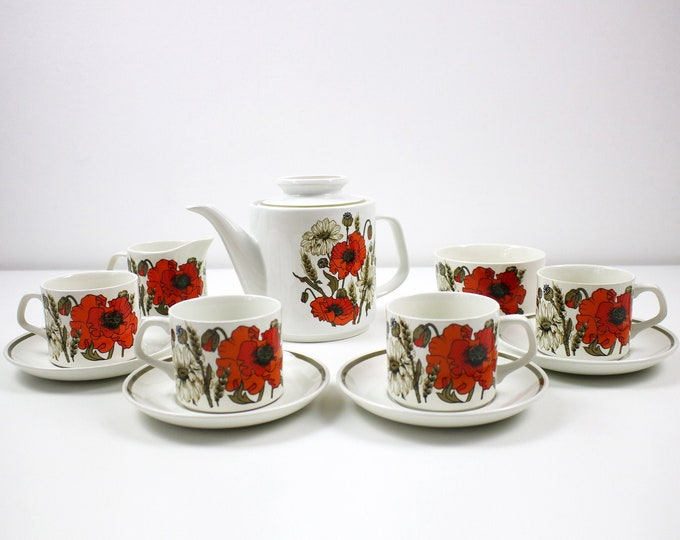 1970s Poppy design tea set for 4 by Alfred Meakin - teapot, cups, saucers, milk, sugar