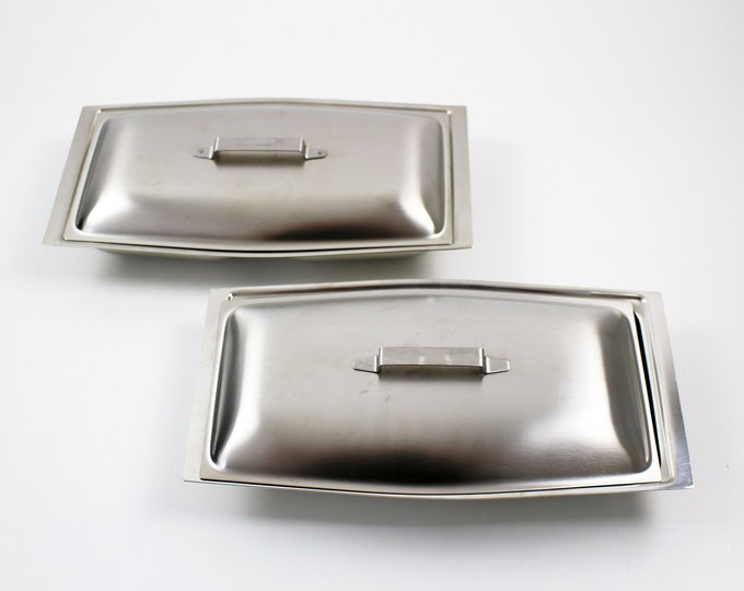 Pair of Modernist (boxed) breakfast serving dishes by Chichester 1960s 70s - satin steel - lidded