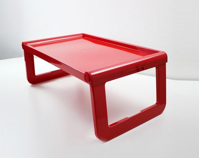 1980s 90s Luigi Massoni red plastic folding bed tray table 'Jolly' for Fratelli Guzzini - unused old stock