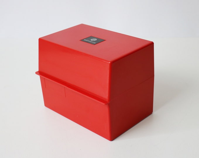 Large 1980s card index box file - WH Smith - red plastic - 80s 90s - with cube logo