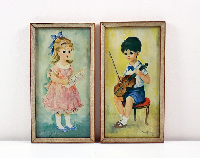 Pair of framed Dallas Simpson prints - girl with song sheet and boy with violin