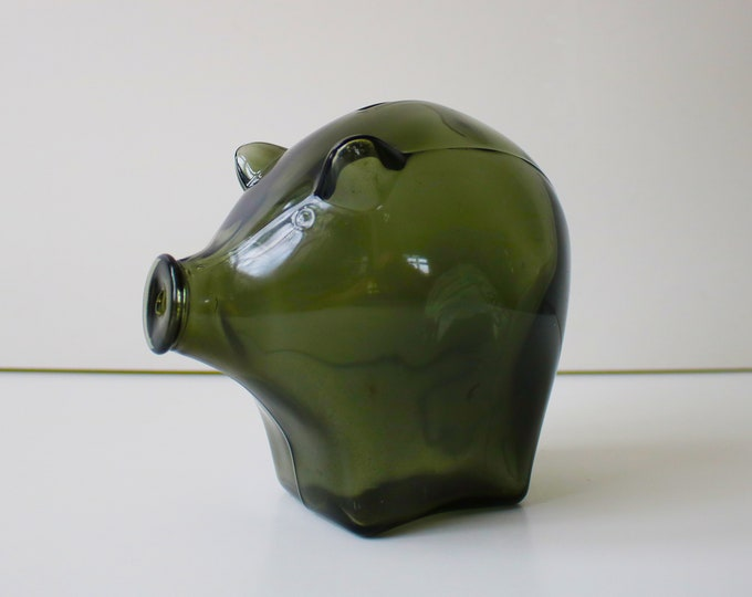 Cascade brown/green glass piggybank 1970s