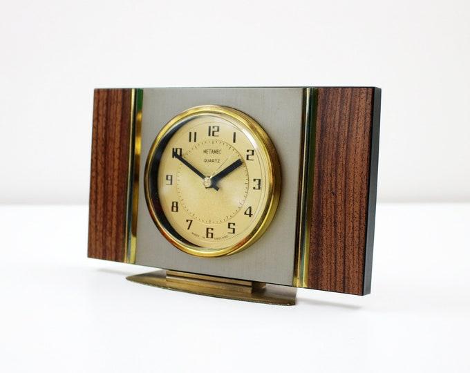 1960s 70s Metamec teak effect and brass mantle clock. Battery operated quartz movement
