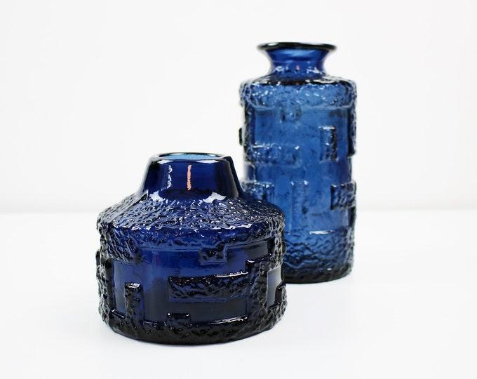 1960s 70s Swedish brutalist glass vase in cobalt blue by Göte Augustsson for Ruda Glasbruk - 2 designs available