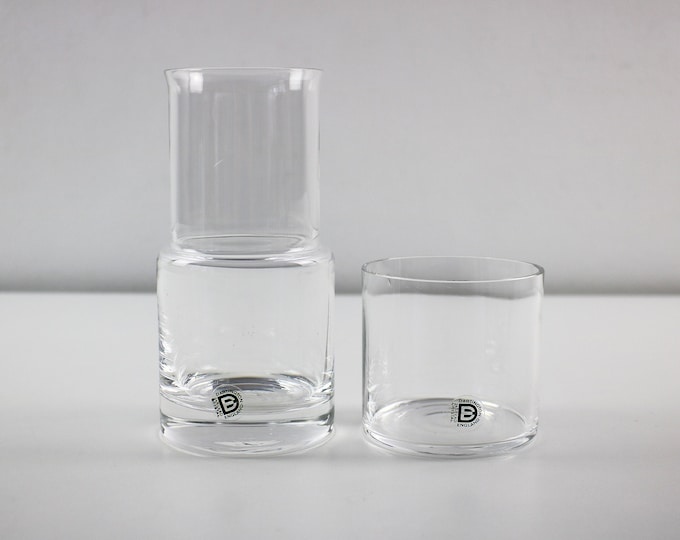 1970s 80s hand made lead crystal water carafe and up / with tumbler - Frank Thrower for Dartington in original box FT298