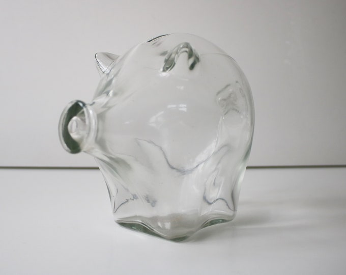 Cascade large clear glass piggybank 60s 70s
