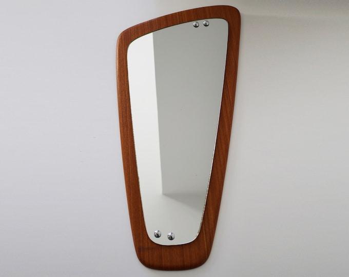 Mid century asymmetrical teak mirror - wall / hallway mirror / Danish styling