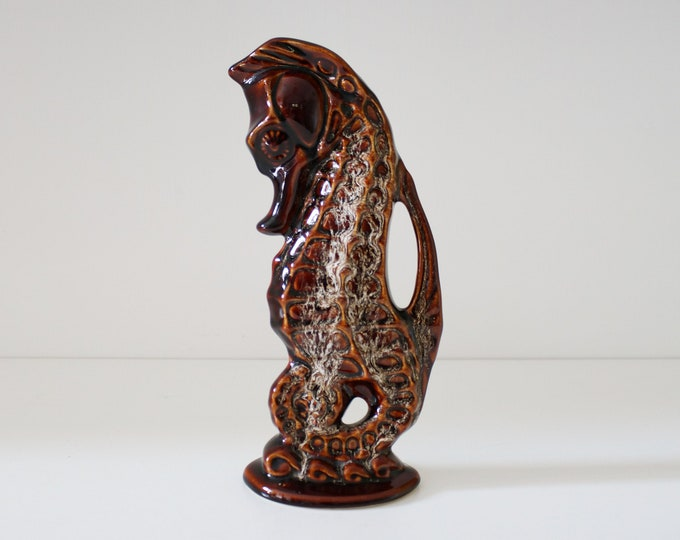 Mid century stylised pottery seahorse vase / jug by Fosters Pottery / honeycomb brown