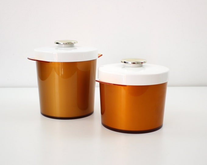 1970s ice bucket in orange, gold and white plastic Isolex by Insulex - 2 sizes available