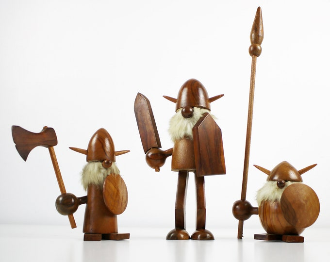 Mid century hardwood Viking figurines - complete set of 3 - axe, sword and spear. Danish / Spanish