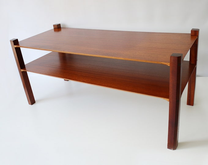 1960s 2 tier solid wood and veneer coffee table with plywood cut out detailing and magazine shelf - mid century