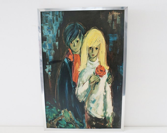 Large Pere Clapera Spanish artist framed print of 1960s oil painting man and woman 1970s