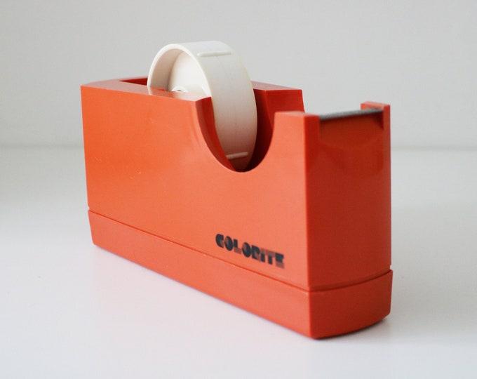1970s modernist tape dispenser in orange plastic - made in Italy - Colorite - sellotape scotch tape