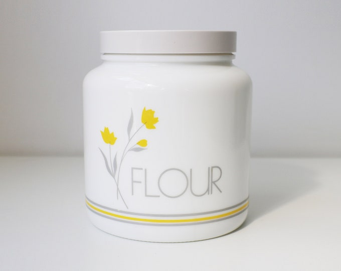 1980s milk glass flour canister / jar with screw top lid - grey and yellow design - made by Candlelight Glass England