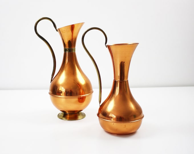 Mid century copper and brass jug / vase - 2 to choose from