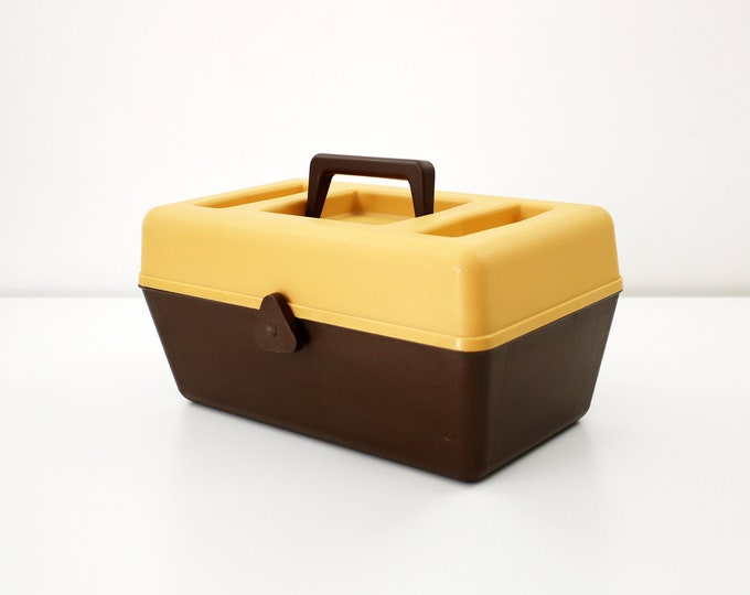 1970s sewing box / storage container with lift out trays - brown and orange textured plastic