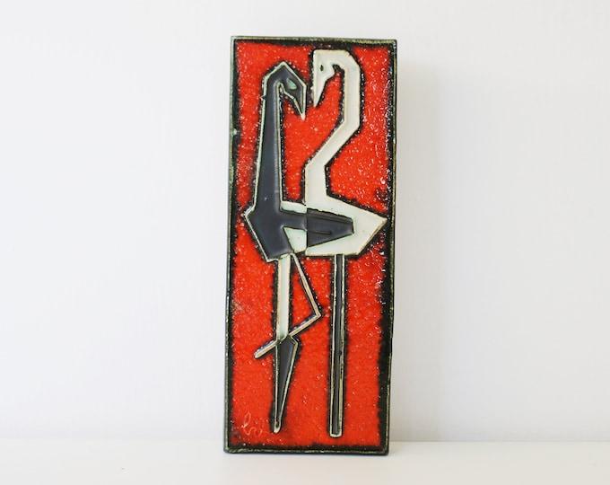 Helmut Schaffenacker Ceramic Wall Plaque tile 1960's pelicans