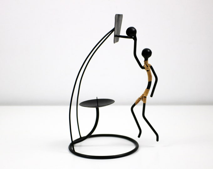 1960s candle holder - black wire raffia - Laurids Lonborg or Bror Bonfils - basketball player