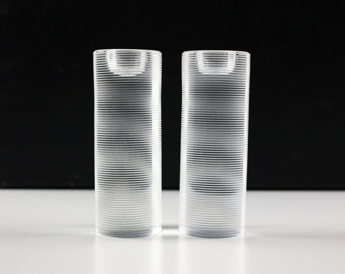 Pair of 1970s French glass candle holders Cristal by J G Durand engraved hoop design