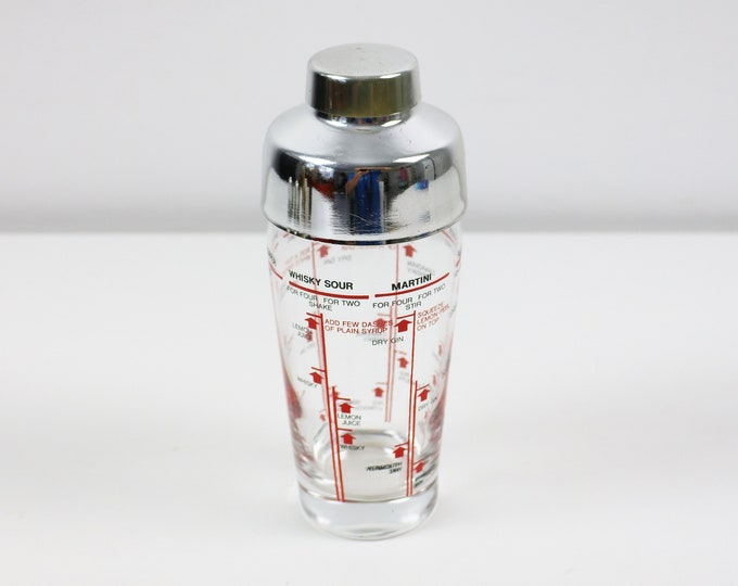 Boxed 1980s Italian glass cocktail shaker (with recipes on bottle) by Saivo Florence