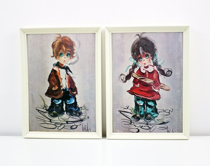 Pair of framed big eyed children prints on textured card - signed - mid century