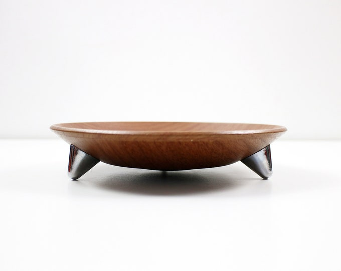 1960s wood effect and chrome serving dish / fruit bowl - by Ianthe