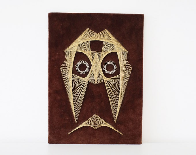 Original 1970s String art owl silver and gold metallic thread  on brown velvet - pin art atomic modernist abstract