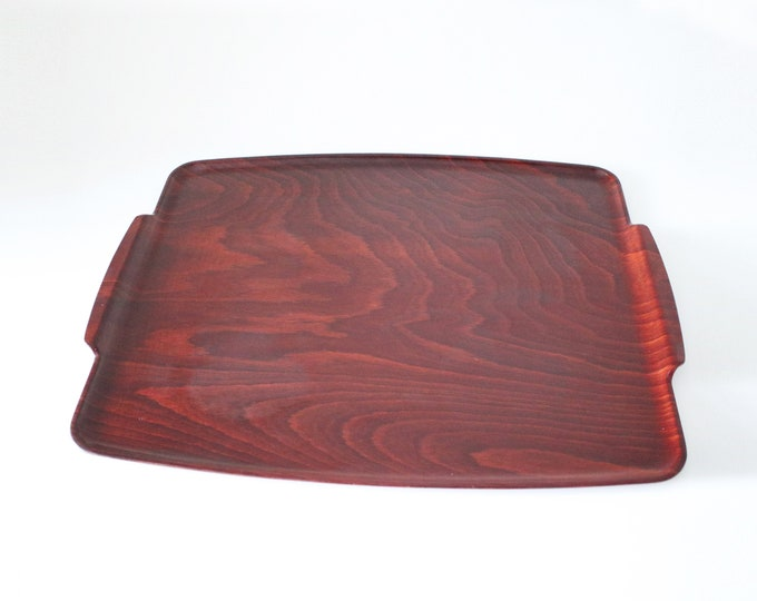 1960s or 70s rosewood effect laminate serving tray - made in England