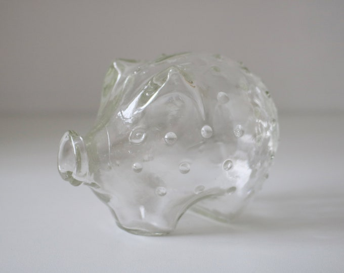 Holmegaard Jacob Bang hobnail piggy bank - mid century - clear