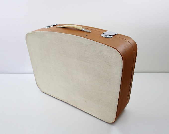 Very large cream and tan canvas effect suitcase by Revelation - wedding display / storage / travel
