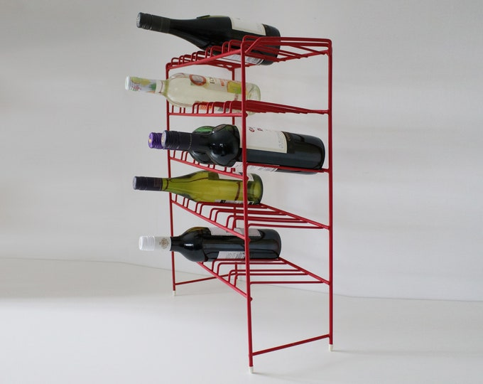 1950s red coated wire wine rack with white feet - atomic