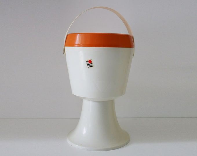 1970s Flair orange and white plastic sewing storage box / stool with handle