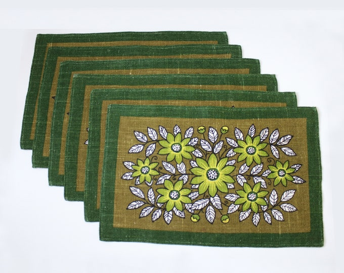Set of 6 1970s floral design linen place mats in shades of green