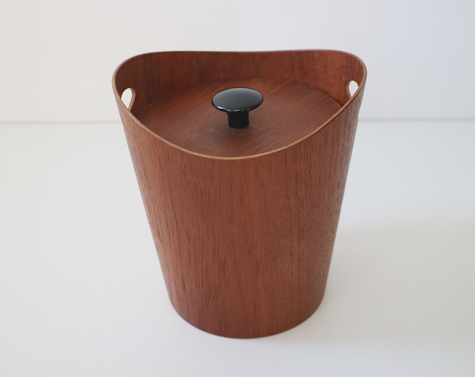 1960s Servex Swedish bent ply teak ice bucket with black painted handle and plastic inner liner.