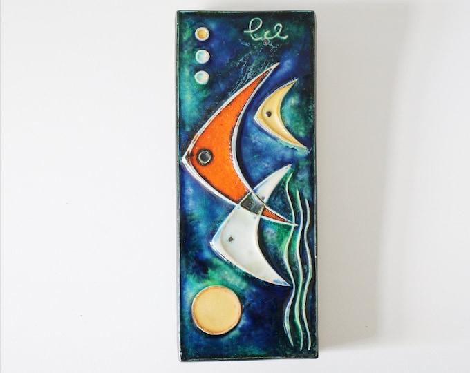 1950s Schaffenacker medium wall tile - Made in Germany - Mid Century abstract atomic fish / sea ocean scene