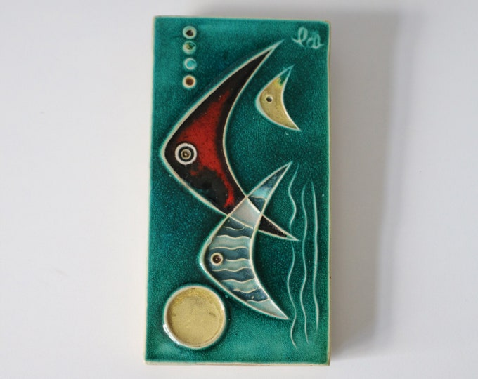 1950s Schaffenacker small wall tile - Made in Germany - Mid Century abstract atomic fish / sea ocean scene