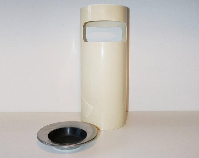 Kartell Colombini umbrella stand / waste bin with original ashtray - white plastic, chrome and black enamel